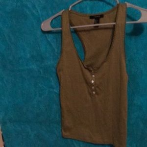 Racer back tank top with 5 button detail